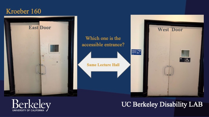 Some doors are not wheelchair accessible for students and professors.